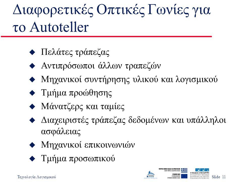 Τεχνολογία ΛογισμικούSlide 11 Διαφορετικές Οπτικές Γωνίες για το Autoteller u Πελάτες τράπεζας u Αντιπρόσωποι άλλων τραπεζών u Μηχανικοί συντήρησης υλ