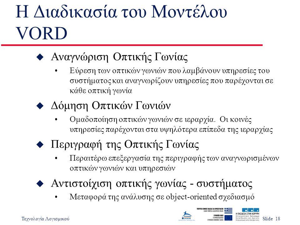 Τεχνολογία ΛογισμικούSlide 18 Η Διαδικασία του Μοντέλου VORD u Αναγνώριση Οπτικής Γωνίας •Εύρεση των οπτικών γωνιών που λαμβάνουν υπηρεσίες του συστήμ