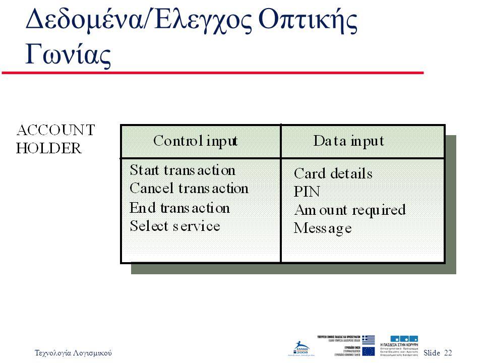 Τεχνολογία ΛογισμικούSlide 22 Δεδομένα/Έλεγχος Οπτικής Γωνίας