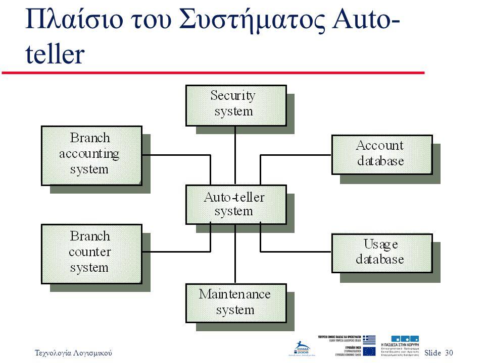 Τεχνολογία ΛογισμικούSlide 30 Πλαίσιο του Συστήματος Auto- teller