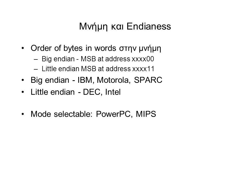 Μνήμη και Endianess •Order of bytes in words στην μνήμη –Big endian - MSB at address xxxx00 –Little endian MSB at address xxxx11 •Big endian - IBM, Motorola, SPARC •Little endian - DEC, Intel •Mode selectable: PowerPC, MIPS