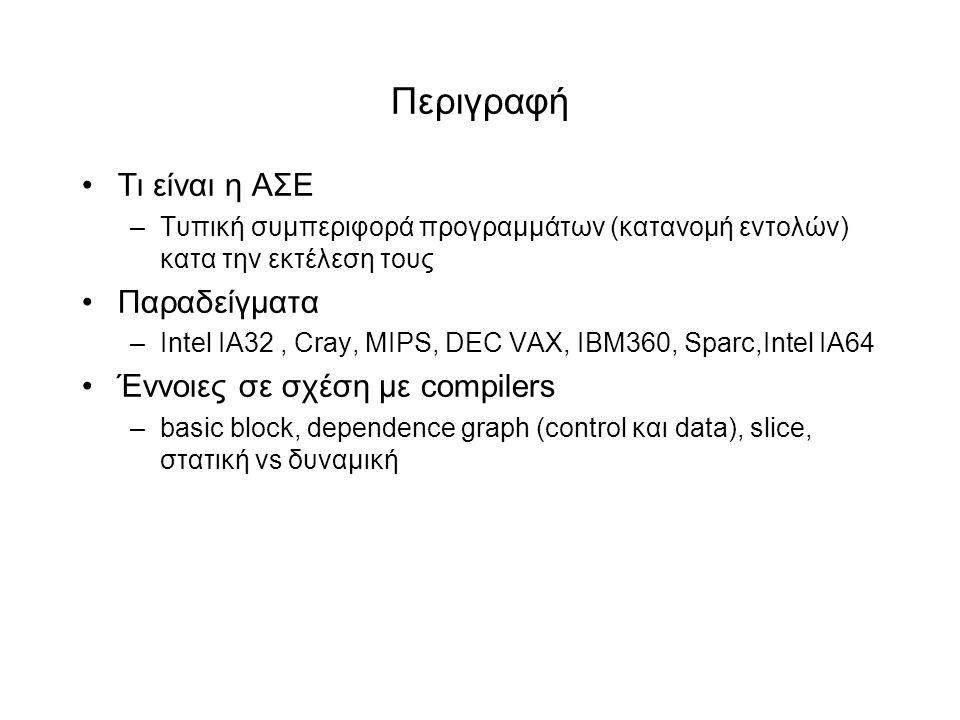 Περιγραφή •Τι είναι η ΑΣΕ –Τυπική συμπεριφορά προγραμμάτων (κατανομή εντολών) κατα την εκτέλεση τους •Παραδείγματα –Ιntel ΙΑ32, Cray, ΜΙPS, DEC VAX, IBM360, Sparc,Intel IA64 •Έννοιες σε σχέση με compilers –basic block, dependence graph (control και data), slice, στατική vs δυναμική