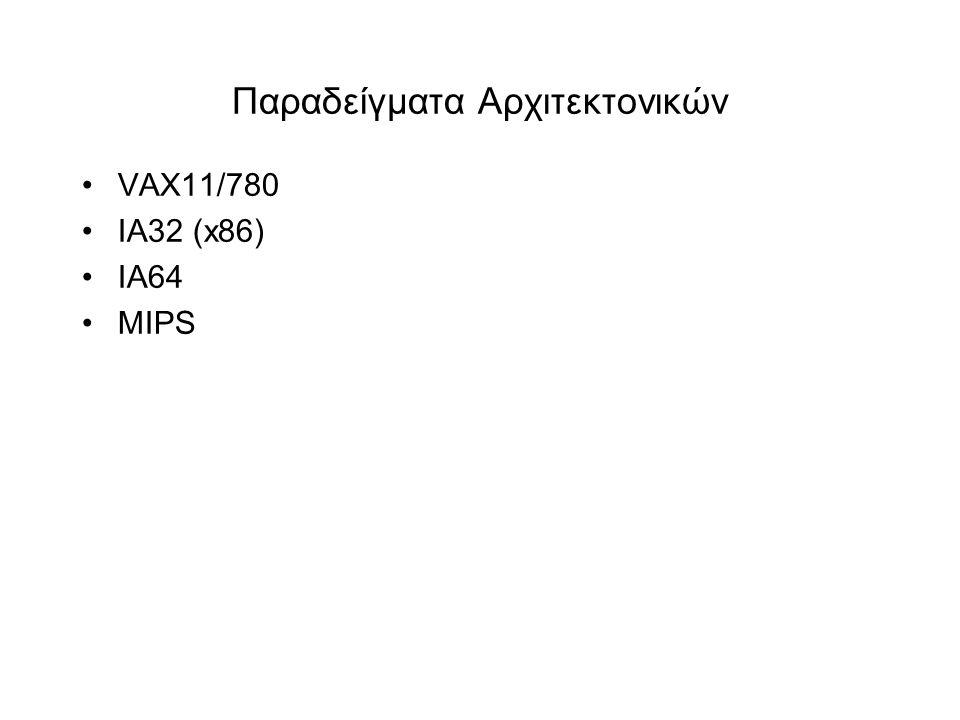 Παραδείγματα Αρχιτεκτονικών •VAX11/780 •IA32 (x86) •IA64 •MIPS