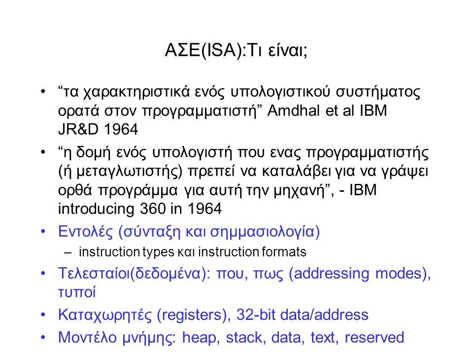 ΑΣΕ(ISA):Tι είναι; • τα χαρακτηριστικά ενός υπολογιστικού συστήματος ορατά στον προγραμματιστή Amdhal et al IBM JR&D 1964 • η δομή ενός υπολογιστή που ενας προγραμματιστής (ή μεταγλωτιστής) πρεπεί να καταλάβει για να γράψει ορθά προγράμμα για αυτή την μηχανή , - IBM introducing 360 in 1964 •Εντολές (σύνταξη και σημμασιολογία) –instruction types και instruction formats •Τελεσταίοι(δεδομένα): που, πως (addressing modes), τυποί •Καταχωρητές (registers), 32-bit data/address •Moντέλο μνήμης: heap, stack, data, text, reserved