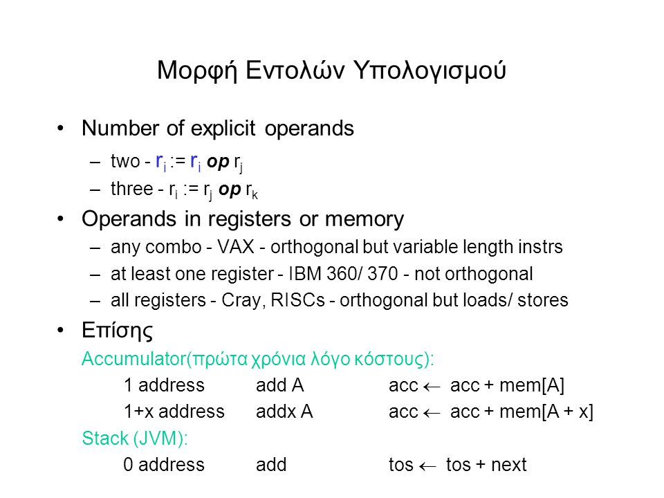 Moρφή Εντολών Υπολογισμού •Number of explicit operands –two - r i := r i op r j –three - r i := r j op r k •Οperands in registers or memory –any combo