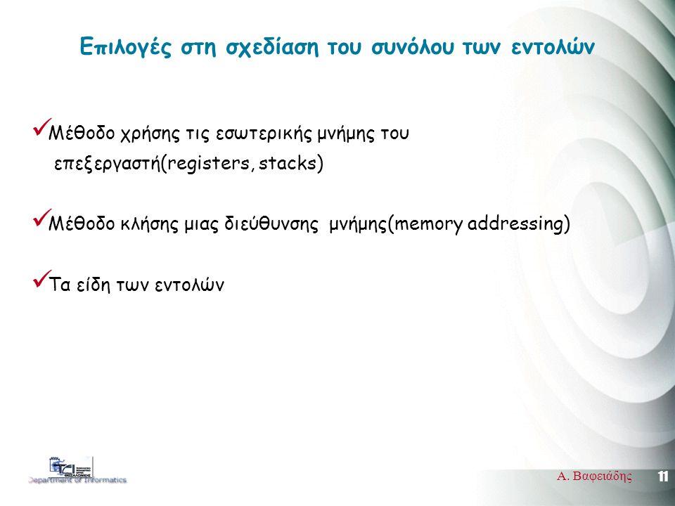 11 Α. Βαφειάδης Επιλογές στη σχεδίαση του συνόλου των εντολών  Μέθοδο χρήσης τις εσωτερικής μνήμης του επεξεργαστή(registers, stacks)  Μέθοδο κλήσης