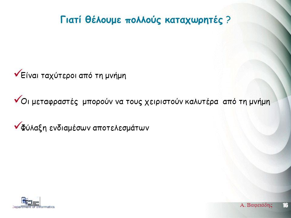 16 Α. Βαφειάδης Γιατί θέλουμε πολλούς καταχωρητές ?  Είναι ταχύτεροι από τη μνήμη  Οι μεταφραστές μπορούν να τους χειριστούν καλυτέρα από τη μνήμη 