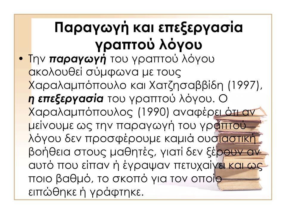 Παραγωγή και επεξεργασία γραπτού λόγου •Την παραγωγή του γραπτού λόγου ακολουθεί σύμφωνα με τους Χαραλαμπόπουλο και Χατζησαββίδη (1997), η επεξεργασία του γραπτού λόγου.