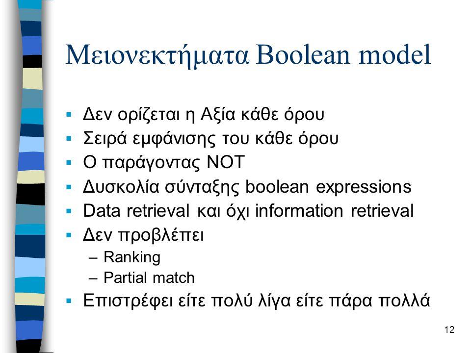 12 Μειονεκτήματα Boolean model  Δεν ορίζεται η Αξία κάθε όρου  Σειρά εμφάνισης του κάθε όρου  Ο παράγοντας NOT  Δυσκολία σύνταξης boolean expressions  Data retrieval και όχι information retrieval  Δεν προβλέπει –Ranking –Partial match  Επιστρέφει είτε πολύ λίγα είτε πάρα πολλά