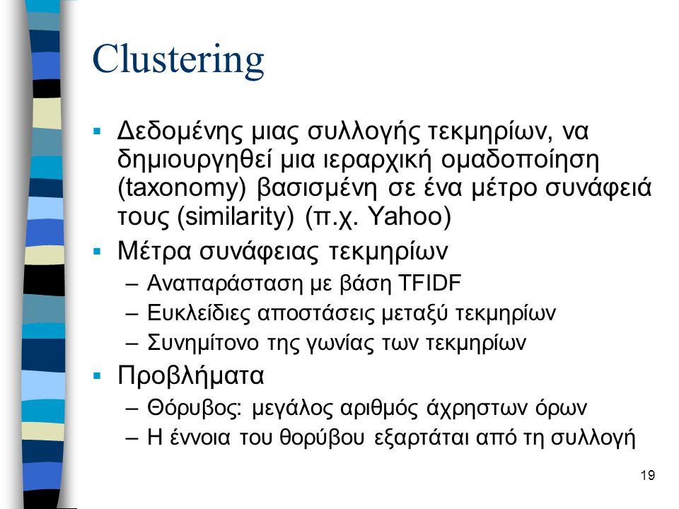 19 Clustering  Δεδομένης μιας συλλογής τεκμηρίων, να δημιουργηθεί μια ιεραρχική ομαδοποίηση (taxonomy) βασισμένη σε ένα μέτρο συνάφειά τους (similarity) (π.χ.