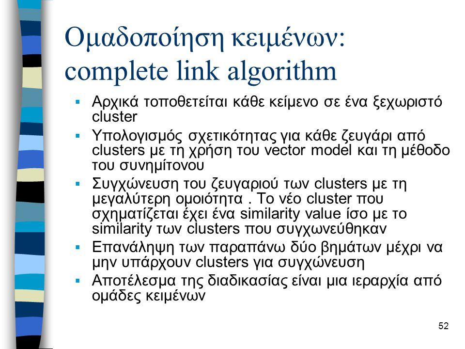 52 Ομαδοποίηση κειμένων: complete link algorithm  Αρχικά τοποθετείται κάθε κείμενο σε ένα ξεχωριστό cluster  Υπολογισμός σχετικότητας για κάθε ζευγάρι από clusters με τη χρήση του vector model και τη μέθοδο του συνημίτονου  Συγχώνευση του ζευγαριού των clusters με τη μεγαλύτερη ομοιότητα.