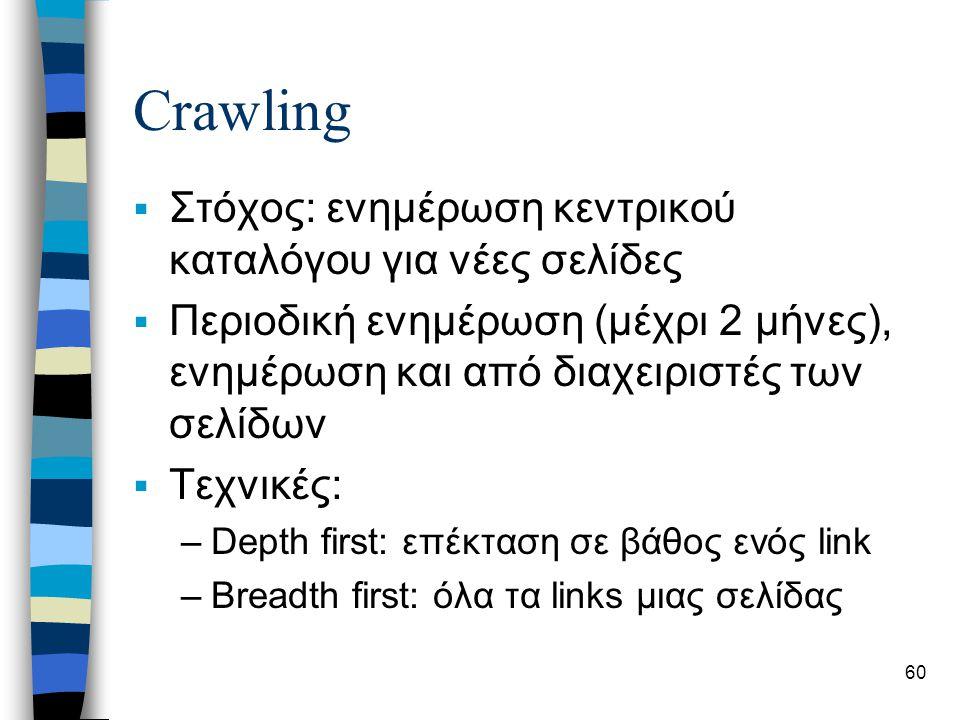 60 Crawling  Στόχος: ενημέρωση κεντρικού καταλόγου για νέες σελίδες  Περιοδική ενημέρωση (μέχρι 2 μήνες), ενημέρωση και από διαχειριστές των σελίδων  Τεχνικές: –Depth first: επέκταση σε βάθος ενός link –Breadth first: όλα τα links μιας σελίδας