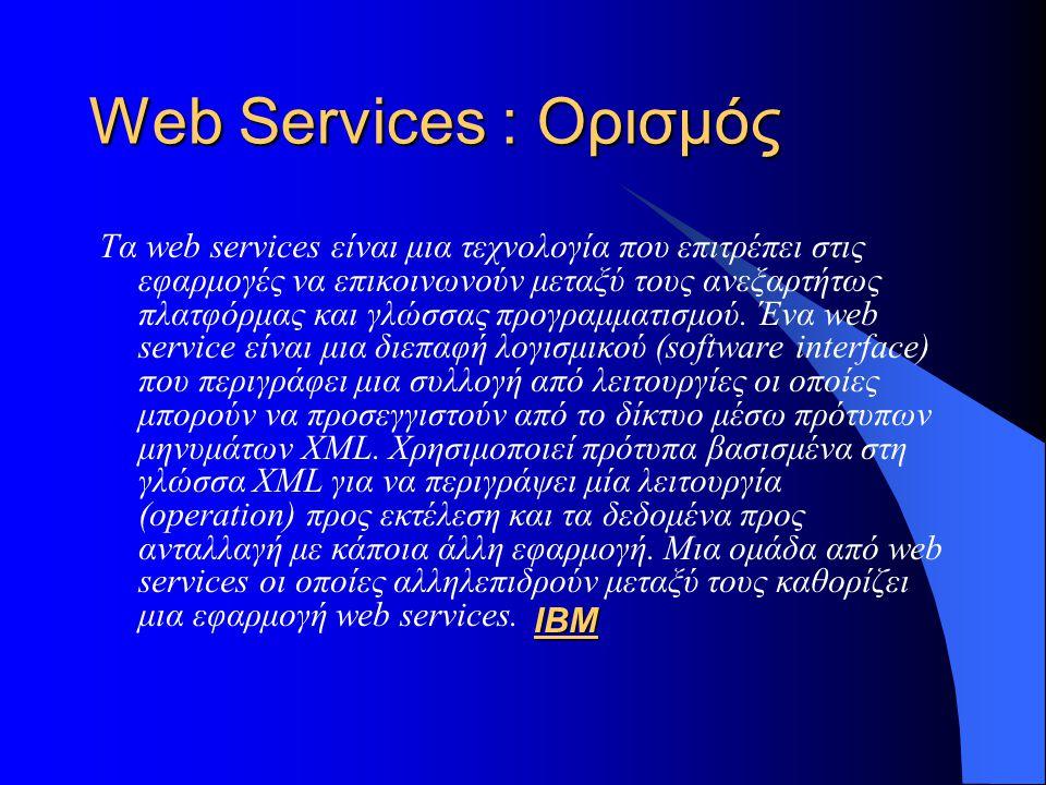 Παράδειγμα WSDL <definitions name= StockQuote targetNamespace= http://example.com/stockquote.wsdl xmlns:tns= http://example.com/stockquote.wsdl xmlns:xsd1= http://example.com/stockquote.xsd xmlns:soap= http://schemas.xmlsoap.org/wsdl/soap/ xmlns= http://schemas.xmlsoap.org/wsdl/ > <schema targetNamespace= http://example.com/stockquote.xsd xmlns= http://www.w3.org/2000/10/XMLSchema >
