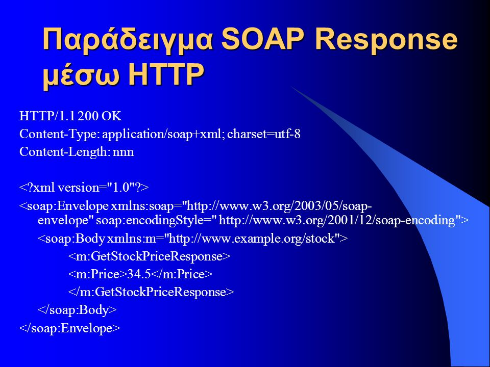 Παράδειγμα SOAP Response μέσω HTTP HTTP/1.1 200 OK Content-Type: application/soap+xml; charset=utf-8 Content-Length: nnn 34.5