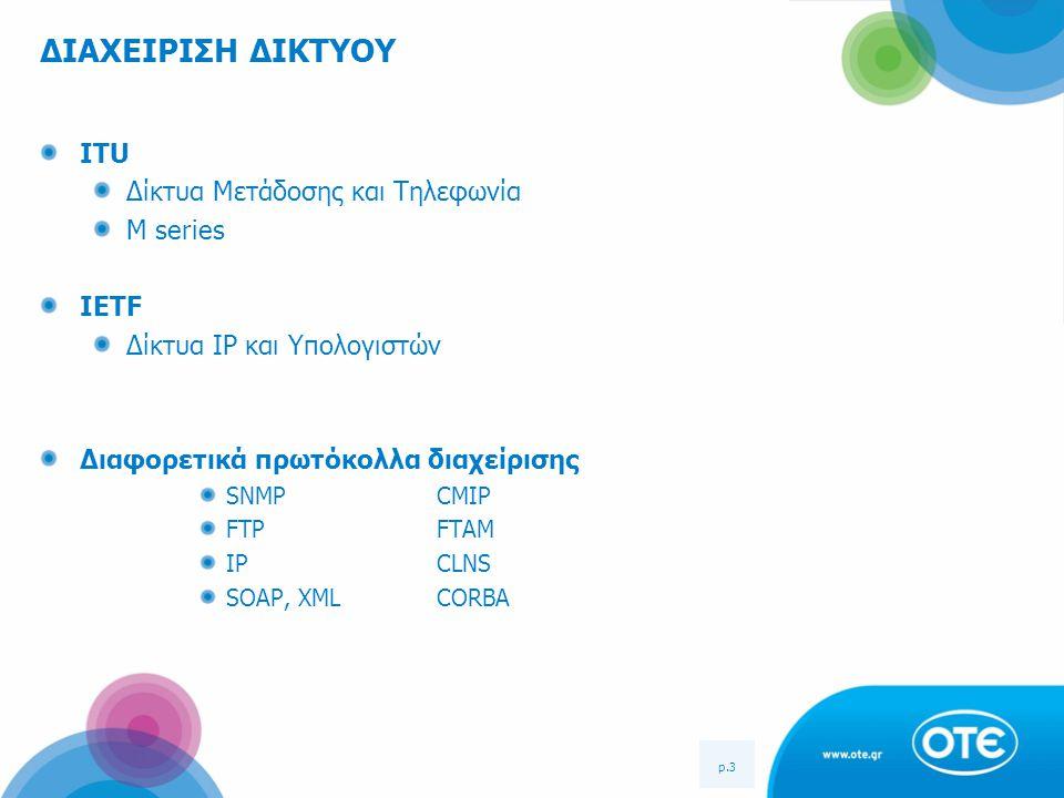 p.3 ΔΙΑΧΕΙΡΙΣΗ ΔΙΚΤΥΟΥ ITU Δίκτυα Μετάδοσης και Τηλεφωνία M series IETF Δίκτυα IP και Υπολογιστών Διαφορετικά πρωτόκολλα διαχείρισης SNMP CMIP FTP FTA