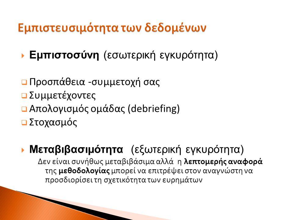  Εμπιστοσύνη (εσωτερική εγκυρότητα)  Προσπάθεια -συμμετοχή σας  Συμμετέχοντες  Απολογισμός ομάδας (debriefing)  Στοχασμός  Μεταβιβασιμότητα (εξω
