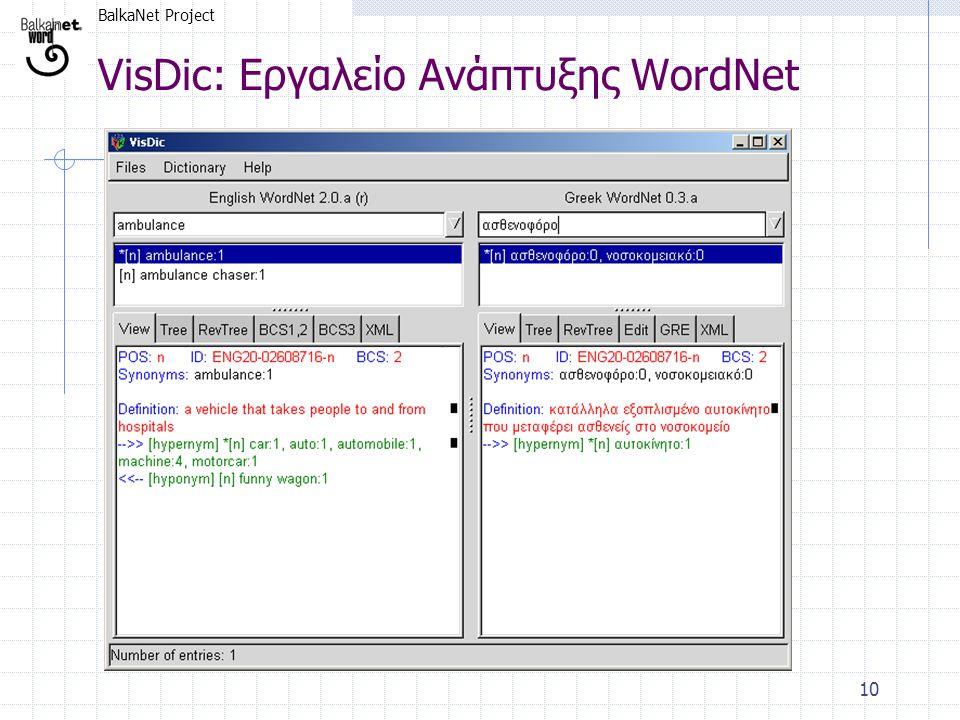 BalkaNet Project 10 VisDic: Εργαλείο Ανάπτυξης WordNet