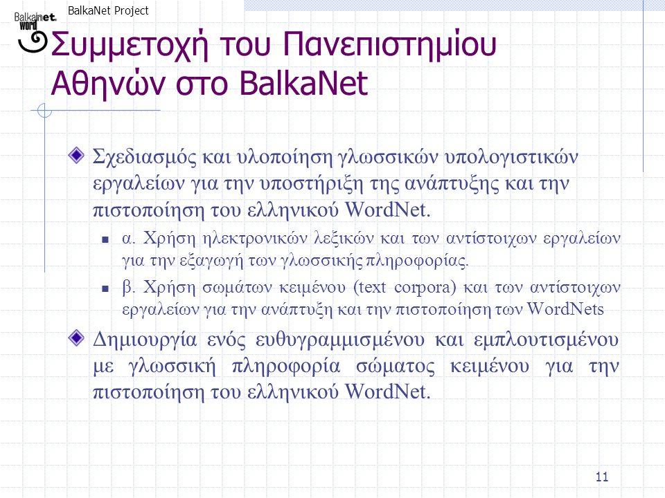 BalkaNet Project 11 Συμμετοχή του Πανεπιστημίου Αθηνών στο BalkaNet Σχεδιασμός και υλοποίηση γλωσσικών υπολογιστικών εργαλείων για την υποστήριξη της