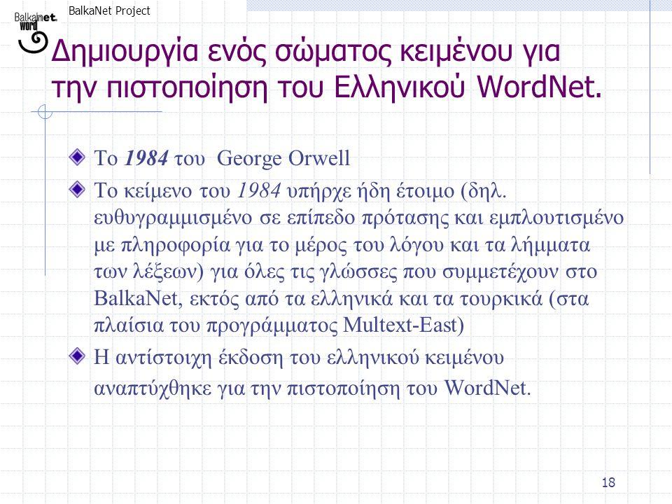 BalkaNet Project 18 Δημιουργία ενός σώματος κειμένου για την πιστοποίηση του Ελληνικού WordNet. Το 1984 του George Orwell Το κείμενο του 1984 υπήρχε ή