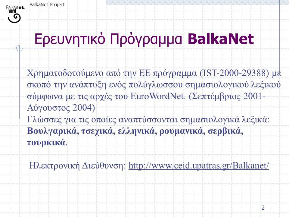 BalkaNet Project 2 Ερευνητικό Πρόγραμμα BalkaΝet Χρηματοδοτούμενο από την ΕΕ πρόγραμμα (IST-2000-29388) με σκοπό την ανάπτυξη ενός πολύγλωσσου σημασιο