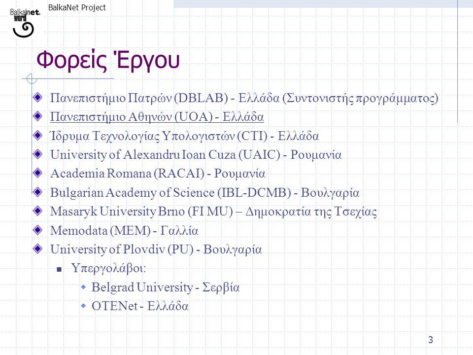 BalkaNet Project 3 Φορείς Έργου Πανεπιστήμιο Πατρών (DBLAB) - Ελλάδα (Συντονιστής προγράμματος) Πανεπιστήμιο Αθηνών (UOA) - Ελλάδα Ίδρυμα Τεχνολογίας