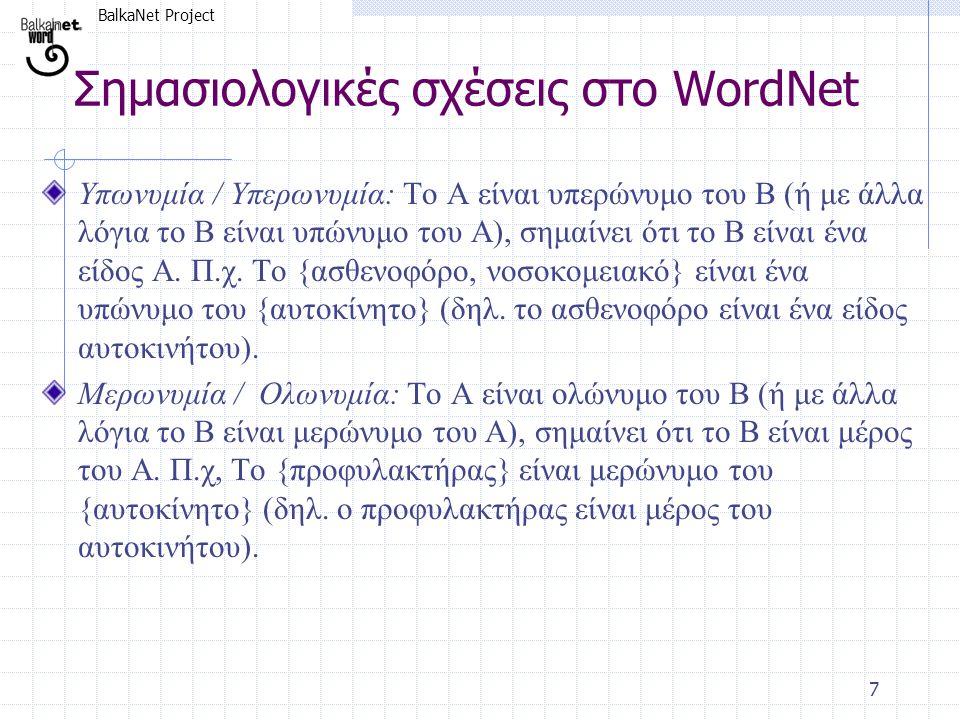 BalkaNet Project 7 Υπωνυμία / Υπερωνυμία: Το Α είναι υπερώνυμο του Β (ή με άλλα λόγια το Β είναι υπώνυμο του Α), σημαίνει ότι το Β είναι ένα είδος Α.