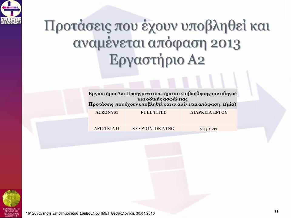 Προτάσεις που έχουν υποβληθεί και αναμένεται απόφαση 2013 Εργαστήριο Α2 16 η Συνάντηση Επιστημονικού Συμβουλίου ΙΜΕΤ Θεσσαλονίκη, 30/04/2013 Εργαστήρι