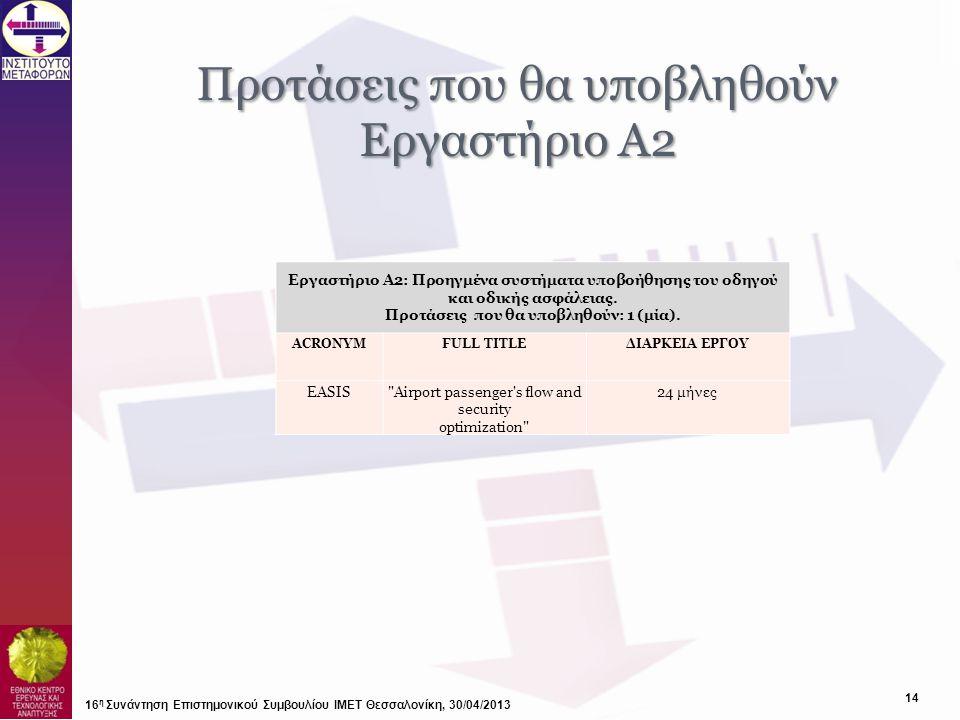 Προτάσεις που θα υποβληθούν Εργαστήριο Α2 16 η Συνάντηση Επιστημονικού Συμβουλίου ΙΜΕΤ Θεσσαλονίκη, 30/04/2013 14 Εργαστήριο Α2: Προηγμένα συστήματα υ