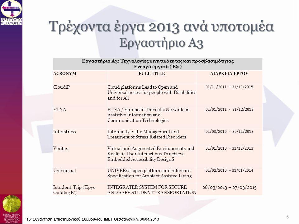 Τρέχοντα έργα 2013 ανά υποτομέα Εργαστήριο Α3 6 16 η Συνάντηση Επιστημονικού Συμβουλίου ΙΜΕΤ Θεσσαλονίκη, 30/04/2013 Εργαστήριο Α3: Τεχνολογίες κινητι