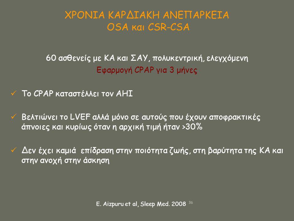 ΧΡΟΝΙΑ ΚΑΡΔΙΑΚΗ ΑΝΕΠΑΡΚΕΙΑ OSA και CSR-CSA 60 ασθενείς με ΚΑ και ΣΑΥ, πολυκεντρική, ελεγχόμενη Εφαρμογή CPAP για 3 μήνες  Το CPAP καταστέλλει τον ΑΗΙ