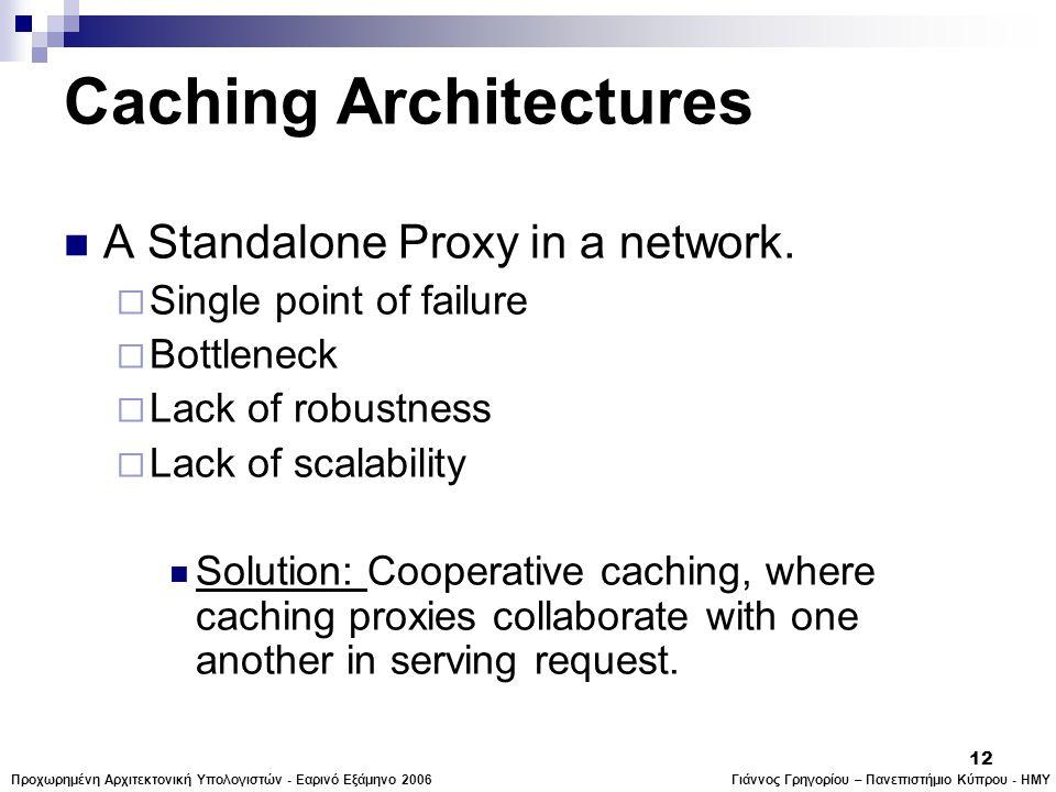 Γιάννος Γρηγορίου – Πανεπιστήμιο Κύπρου - ΗΜΥΠροχωρημένη Αρχιτεκτονική Υπολογιστών - Εαρινό Εξάμηνο 2006 12 Caching Architectures  A Standalone Proxy in a network.