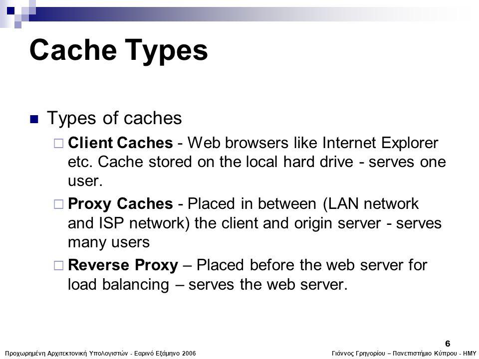 Γιάννος Γρηγορίου – Πανεπιστήμιο Κύπρου - ΗΜΥΠροχωρημένη Αρχιτεκτονική Υπολογιστών - Εαρινό Εξάμηνο 2006 6 Cache Types  Types of caches  Client Caches - Web browsers like Internet Explorer etc.