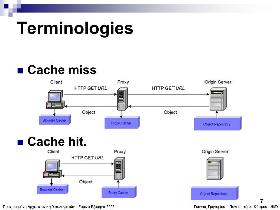 Γιάννος Γρηγορίου – Πανεπιστήμιο Κύπρου - ΗΜΥΠροχωρημένη Αρχιτεκτονική Υπολογιστών - Εαρινό Εξάμηνο 2006 7 Terminologies  Cache miss  Cache hit.