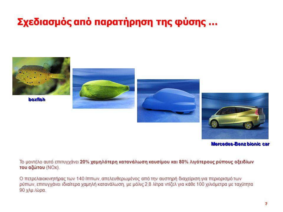 7 Σχεδιασμός από παρατήρηση της φύσης … Το μοντέλο αυτό επιτυγχάνει 20% χαμηλότερη κατανάλωση καυσίμου και 80% λιγότερους ρύπους οξειδίων του αζώτου (NOx).