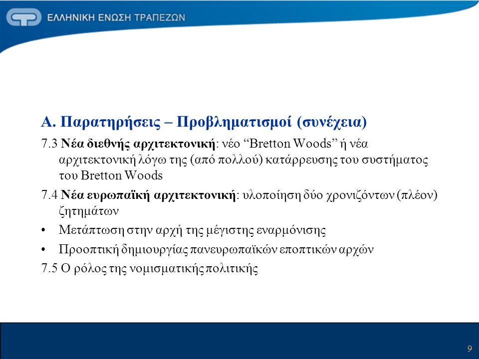 """9 Α. Παρατηρήσεις – Προβληματισμοί (συνέχεια) 7.3 Νέα διεθνής αρχιτεκτονική: νέο """"Bretton Woods"""" ή νέα αρχιτεκτονική λόγω της (από πολλού) κατάρρευσης"""