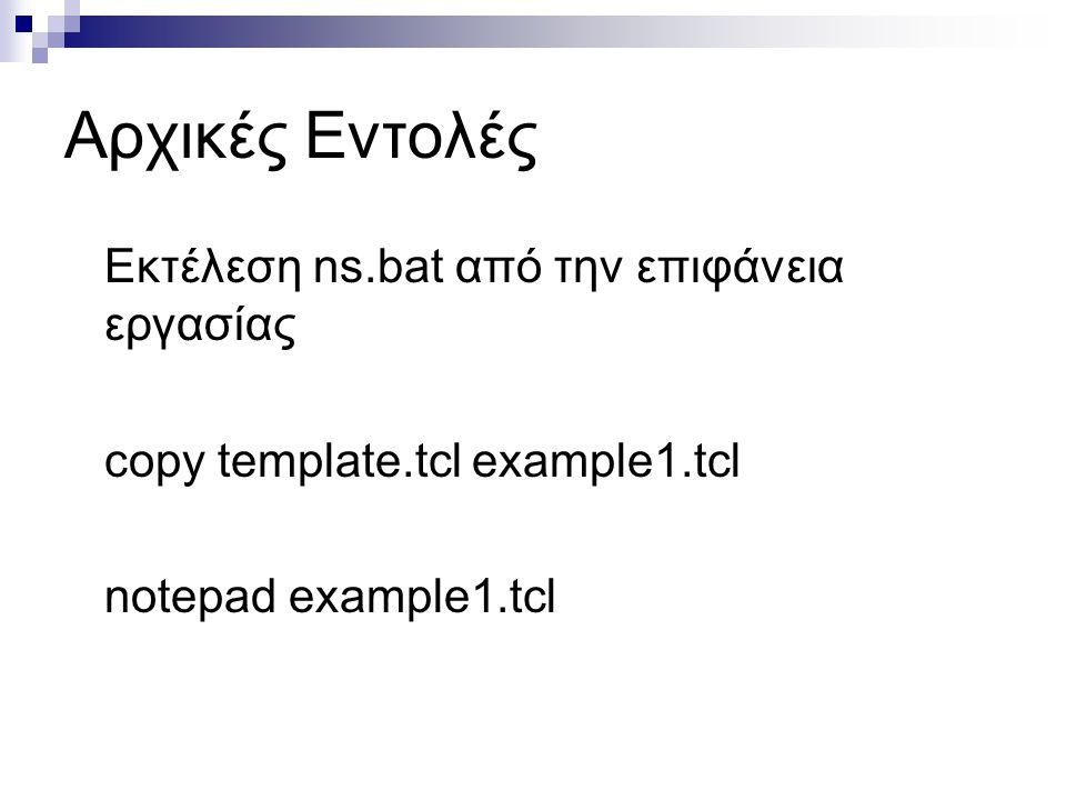 Αρχικές Εντολές Εκτέλεση ns.bat από την επιφάνεια εργασίας copy template.tcl example1.tcl notepad example1.tcl