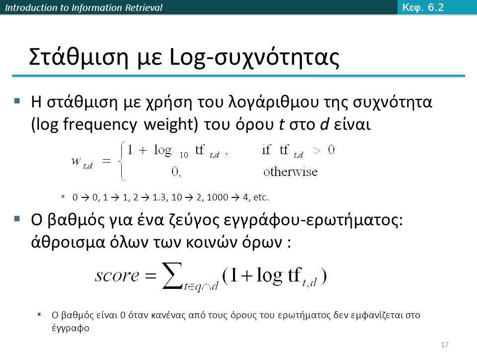 Introduction to Information Retrieval Στάθμιση με Log-συχνότητας  Η στάθμιση με χρήση του λογάριθμου της συχνότητα (log frequency weight) του όρου t στο d είναι  0 → 0, 1 → 1, 2 → 1.3, 10 → 2, 1000 → 4, etc.