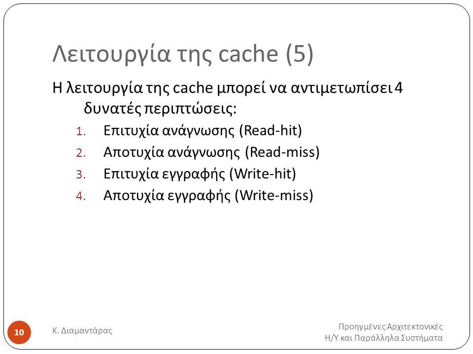 Λειτουργία της cache (5) Προηγμένες Αρχιτεκτονικές Η / Υ και Παράλληλα Συστήματα Κ.