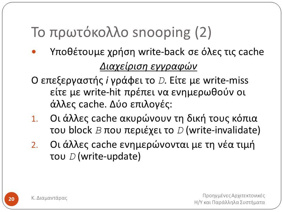 Το πρωτόκολλο snooping (2) Προηγμένες Αρχιτεκτονικές Η / Υ και Παράλληλα Συστήματα Κ.