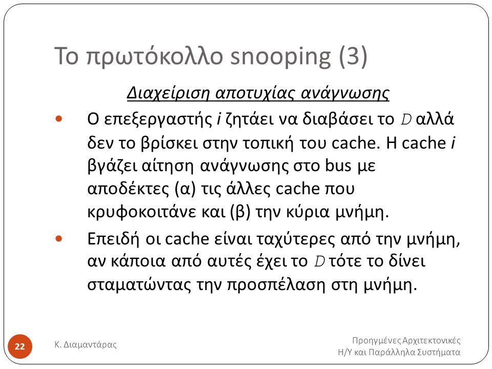 Το πρωτόκολλο snooping (3) Προηγμένες Αρχιτεκτονικές Η / Υ και Παράλληλα Συστήματα Κ.