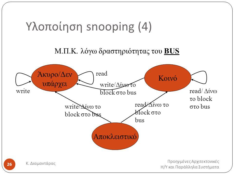 Υλοποίηση snooping (4) Προηγμένες Αρχιτεκτονικές Η / Υ και Παράλληλα Συστήματα Κ.