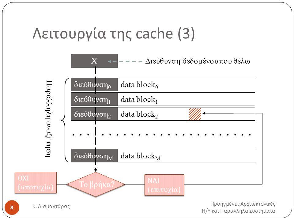 Λειτουργία της cache (4) Προηγμένες Αρχιτεκτονικές Η / Υ και Παράλληλα Συστήματα Κ.