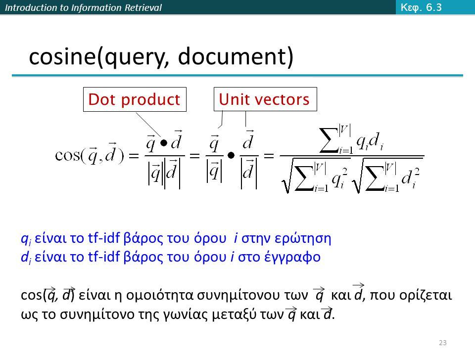 Introduction to Information Retrieval cosine(query, document) Dot product Unit vectors q i είναι το tf-idf βάρος του όρου i στην ερώτηση d i είναι το tf-idf βάρος του όρου i στο έγγραφο cos(q, d) είναι η ομοιότητα συνημίτονου των q και d, που ορίζεται ως το συνημίτονο της γωνίας μεταξύ των q και d.