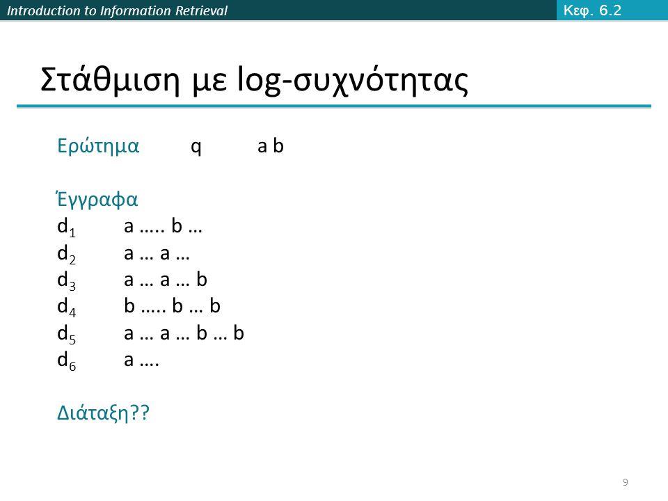 Introduction to Information Retrieval Στάθμιση με log-συχνότητας Κεφ.