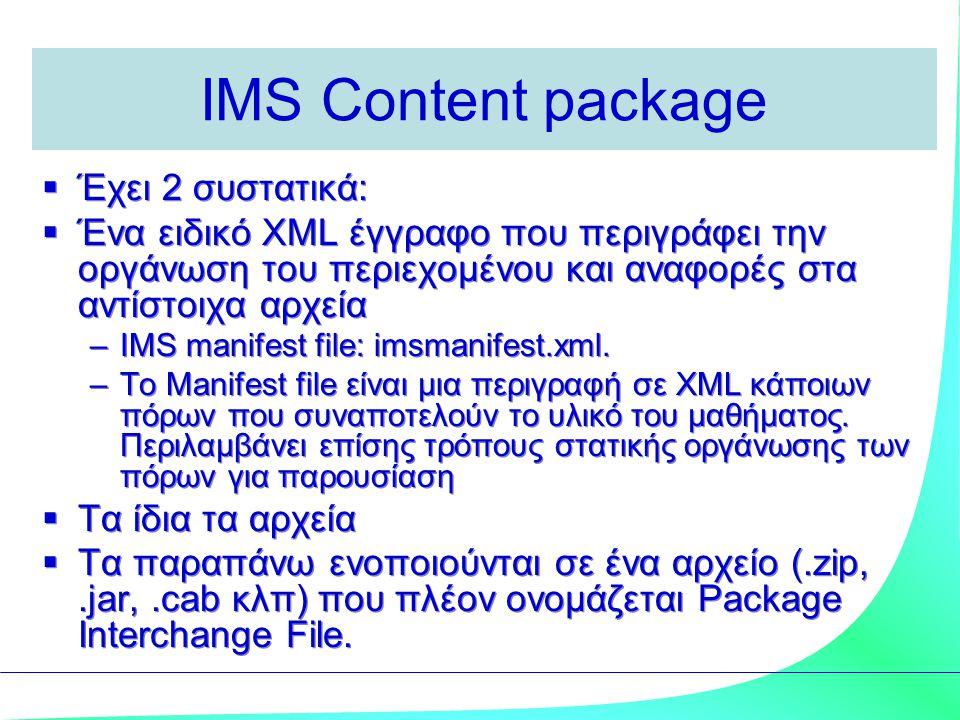 IMS Content package  Έχει 2 συστατικά:  Ένα ειδικό XML έγγραφο που περιγράφει την οργάνωση του περιεχομένου και αναφορές στα αντίστοιχα αρχεία –IMS