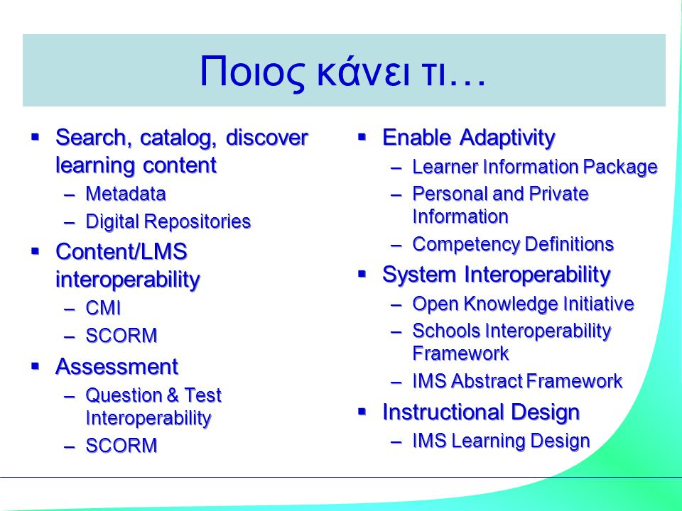 Ποιος κάνει τι…  Search, catalog, discover learning content –Metadata –Digital Repositories  Content/LMS interoperability –CMI –SCORM  Assessment –