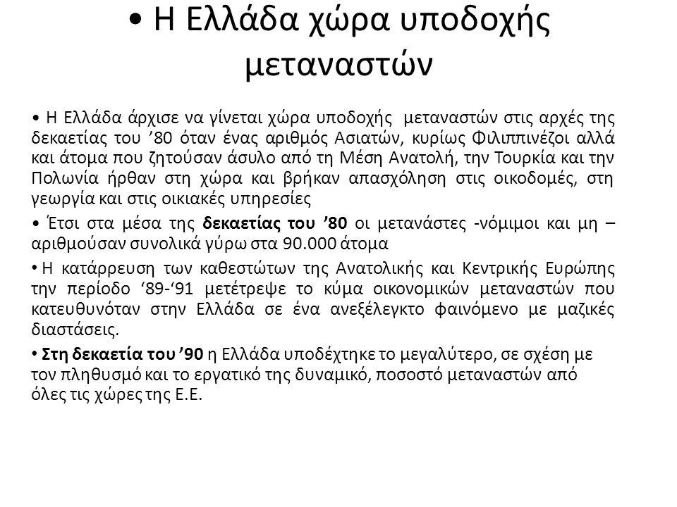 • Η Ελλάδα χώρα υποδοχής μεταναστών • Η Ελλάδα άρχισε να γίνεται χώρα υποδοχής μεταναστών στις αρχές της δεκαετίας του '80 όταν ένας αριθμός Ασιατών,