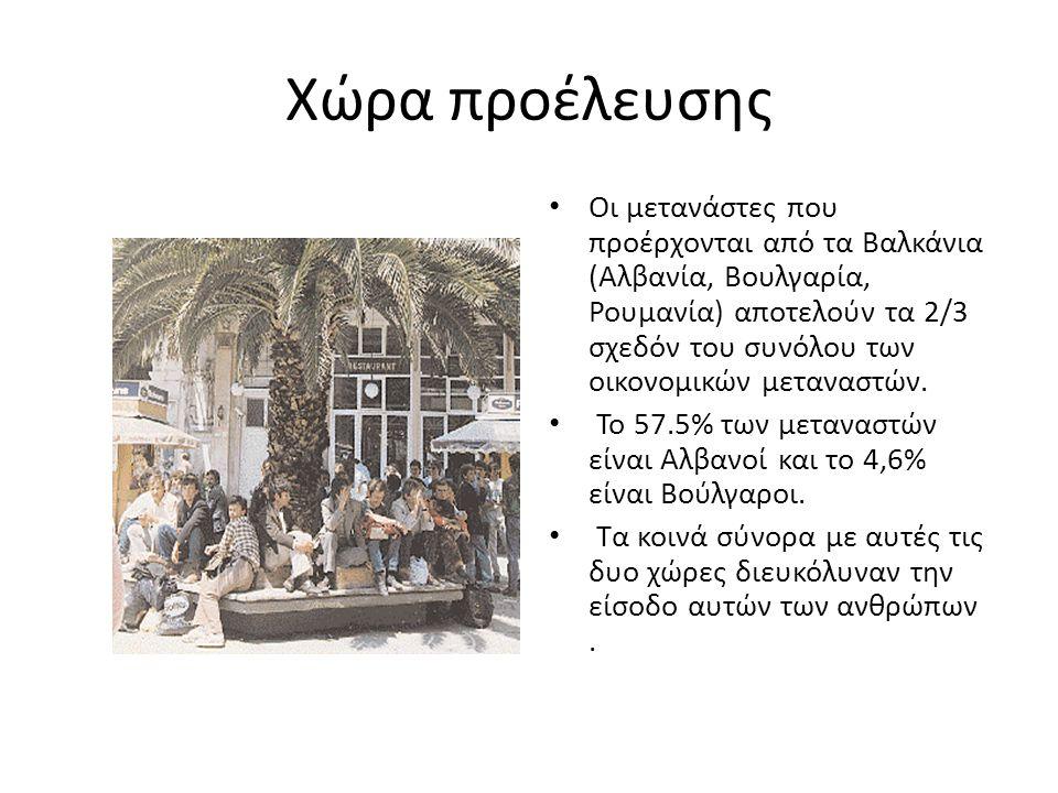Χώρα προέλευσης • Οι μετανάστες που προέρχονται από τα Βαλκάνια (Αλβανία, Βουλγαρία, Ρουμανία) αποτελούν τα 2/3 σχεδόν του συνόλου των οικονομικών μεταναστών.