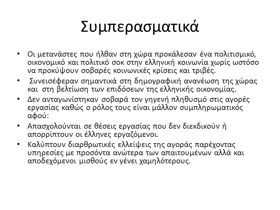 Συμπερασματικά • Οι μετανάστες που ήλθαν στη χώρα προκάλεσαν ένα πολιτισμικό, οικονομικό και πολιτικό σοκ στην ελληνική κοινωνία χωρίς ωστόσο να προκύ