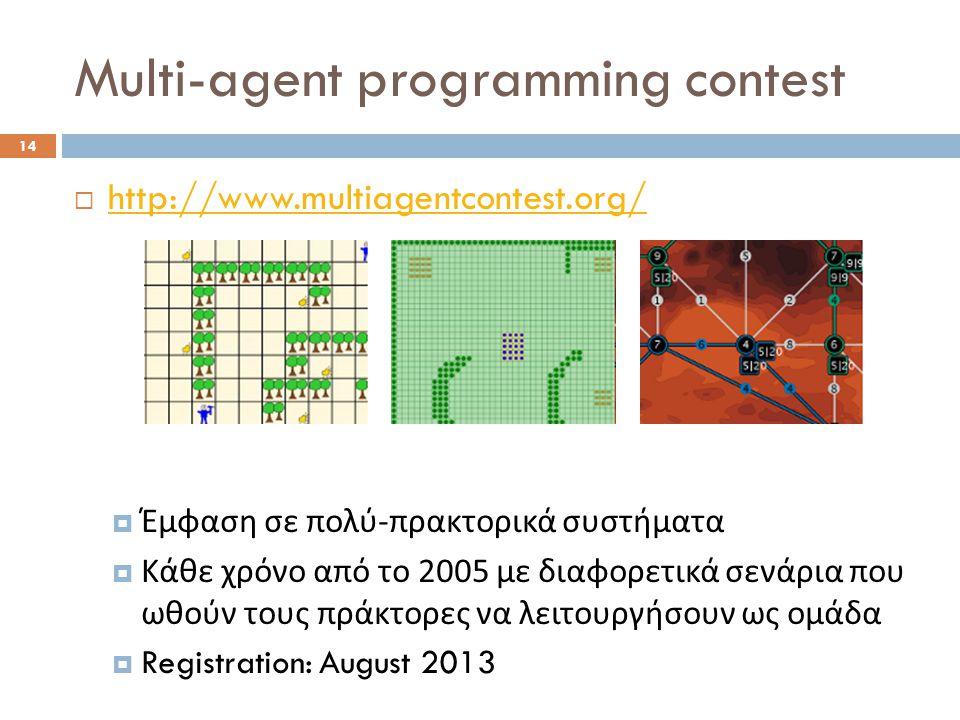 Multi-agent programming contest 14  http://www.multiagentcontest.org/ http://www.multiagentcontest.org/  Έμφαση σε πολύ - πρακτορικά συστήματα  Κάθε χρόνο από το 2005 με διαφορετικά σενάρια που ωθούν τους πράκτορες να λειτουργήσουν ως ομάδα  Registration: August 2013